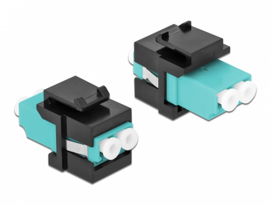 Imagine Keystone fibra optica LC Duplex Multi mode M-M Aqua/Negru, Delock 86720