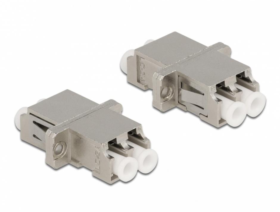 Imagine Cupla fibra optica LC Duplex - LC Duplex Single M-M mode metal, Delock 86874