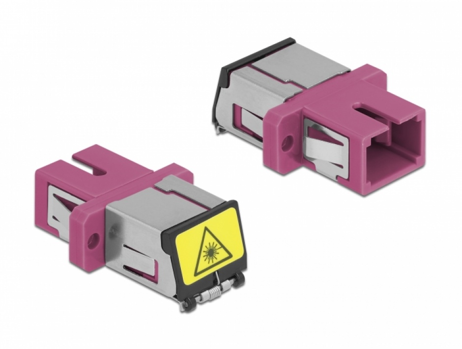 Imagine Cupla fibra optica cu protectie laser SC Simplex Multi-mode OM4 M-M Violet, Delock 86891