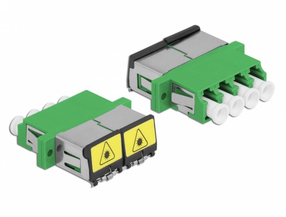 Imagine Cupla fibra optica cu protectie laser LC Quad Single-mode M-M Verde, Delock 86902