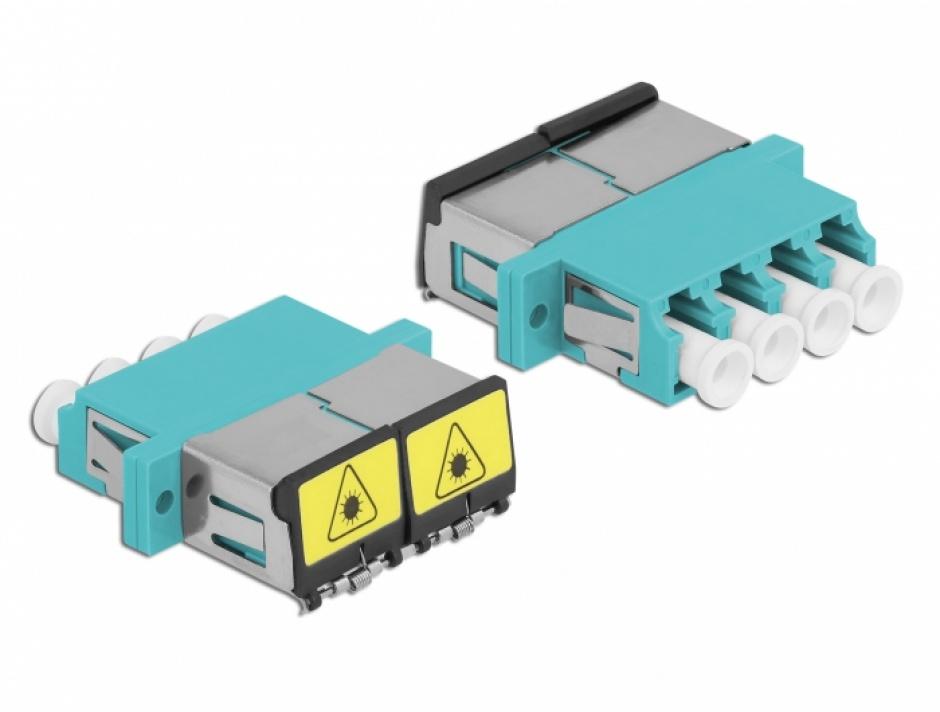 Imagine Cupla fibra optica cu protectie laser LC Quad Multi-mode OM3 M-M Aqua, Delock 86905