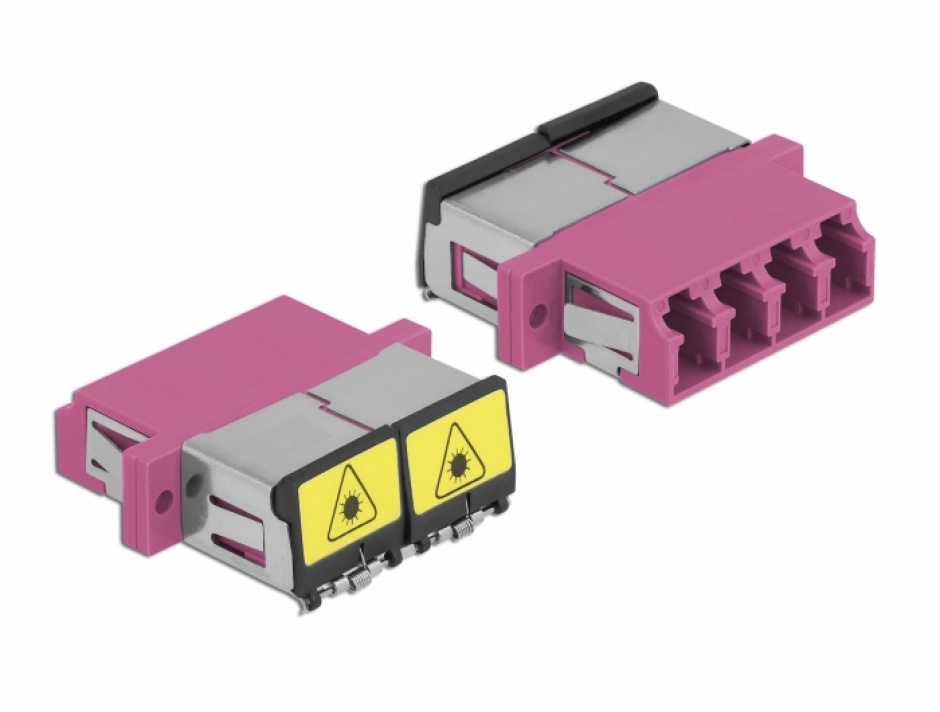 Imagine Cupla fibra optica cu protectie laser LC Quad Multi-mode OM4 M-M Violet, Delock 86906