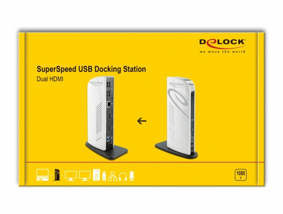 Imagine Docking Station Dual HDMI Full-HD / USB 3.2 / LAN / Audio, Delock 87771