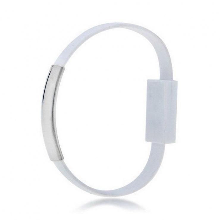 Imagine Cablu tip bratara USB-A la USB-C 0.2m Alb, AK-AD-47