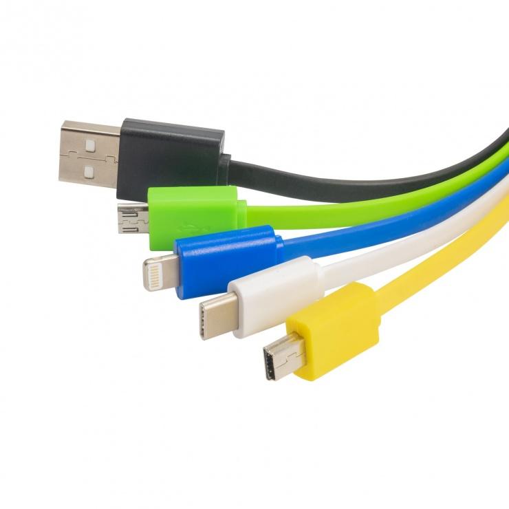 Imagine Cablu de incarcare USB-A la Lightning/USB type C/micro USB/mini USB, AK-AD-51