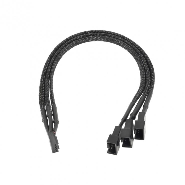 Imagine Cablu alimentare ventilator 4 pini la 2 x4 pini + 1 x 3 pini 25cm, AK-CA-65