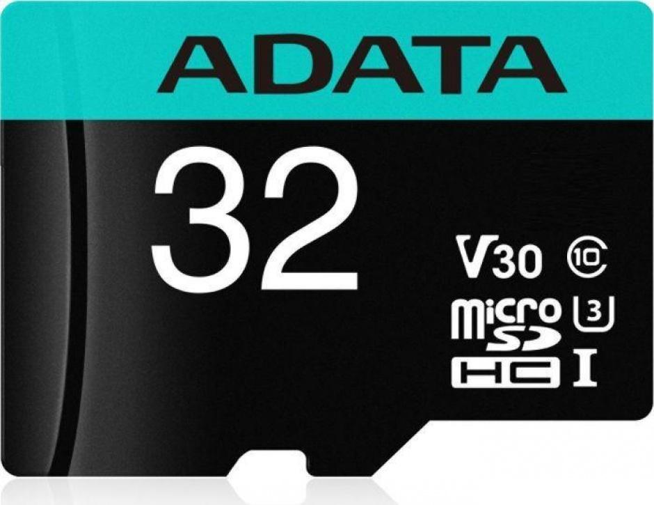 Imagine Card de memorie micro SDHC Premier Pro 32GB clasa 10 UHS-I U3 + adaptor SD, ADATA AUSDH32GUI3V30SA2-RA1