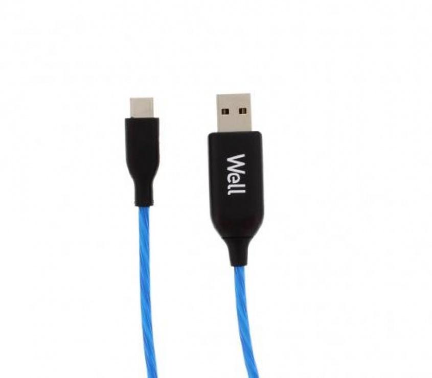 Imagine Cablu USB-A la USB-C 1m Albastru, CABLE-USB/USBC-1BE03-WL