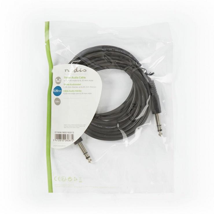 Imagine Cablu audio jack 6.35mm T-T 5m, Nedis CAGP23000BK50