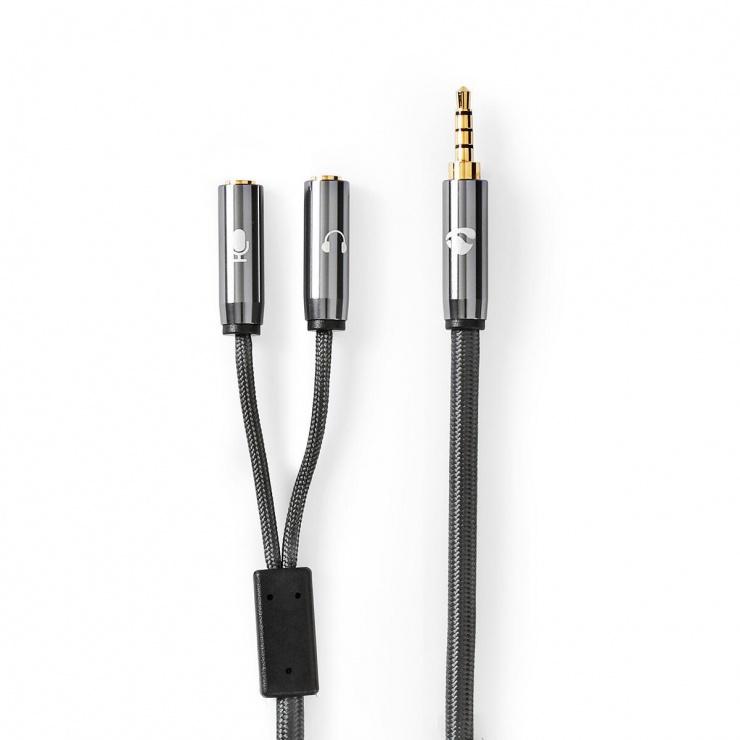 Imagine Adaptor audio jack stereo 3.5mm la 2 x jack stereo 3.5mm casca + microfon, Nedis CATB22150GY02