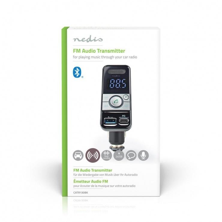 Imagine Incarcator auto Pro Microphone 1 x USB-A + 1 x USB-C PD 18W + Bluetooth , Nedis CATR130BK