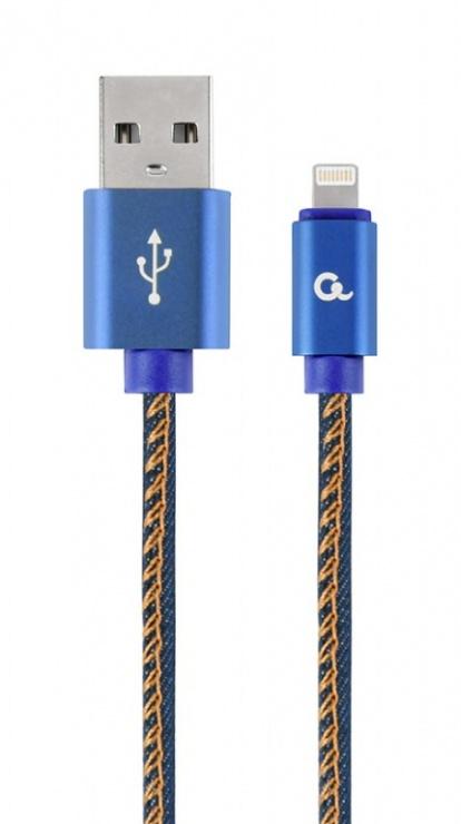Imagine Cablu USB 2.0 la iPhone Lightning Premium jeans (denim) 2m, Gembird CC-USB2J-AMLM-2M-BL