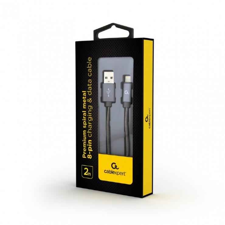 Imagine Cablu de date + incarcare USB la iPhone Lightning metalic spiral Premium 2m Metalic/Gri, Gembird CC-