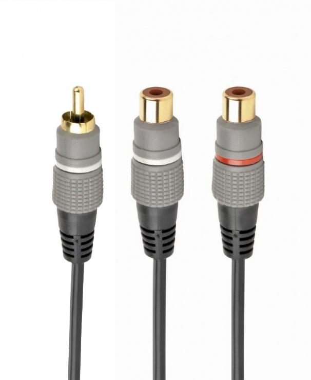 Imagine Adaptor audio RCA la 2 x RCA T-M 20cm, Gembird CCAP-RCAM2F-0.2M