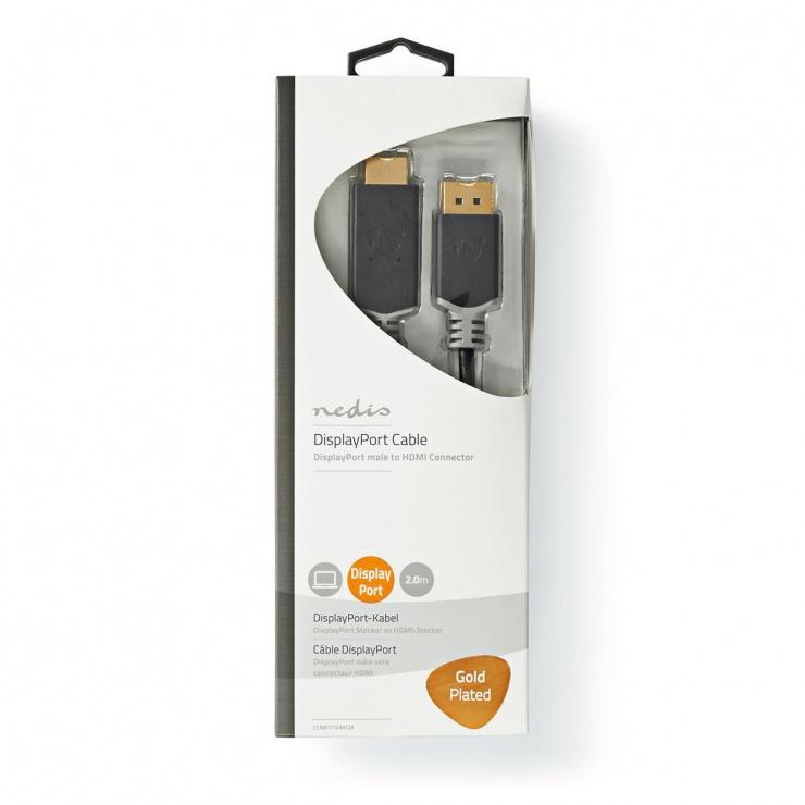 Imagine Cablu Displayport la HDMI 8K60Hz T-T 2m, Nedis CCBW37104AT20