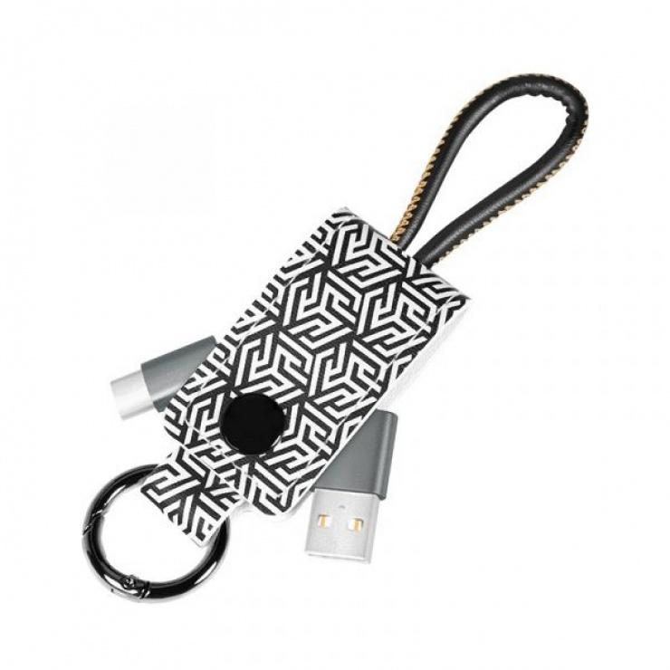 Imagine Cablu USB 2.0-A la USB-C 0.22m pentru breloc T-T Negru, Logilink CU0164