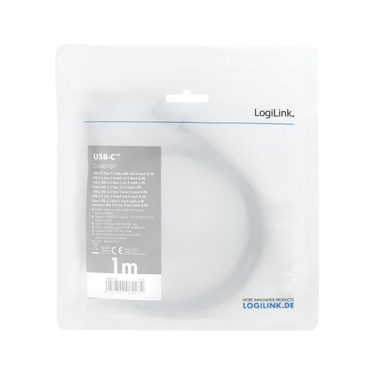 Imagine Cablu USB 3.2 Gen2 type C 4K60Hz cu PD 20V/5A/100W 1m, Logilink CUA0107