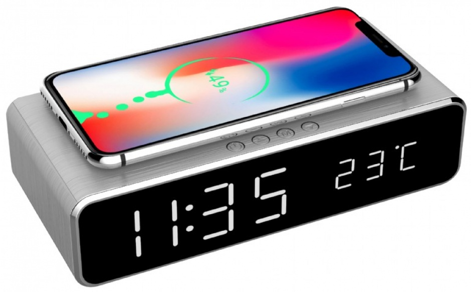 Imagine Ceas digital LCD cu alarma si incarcare wireless 5W Silver, Gembird DAC-WPC-01-S