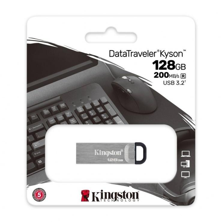 Imagine Stick USB 3.2 DataTraveler Kyson 128GB Metalic, Kingston DTKN/128GB