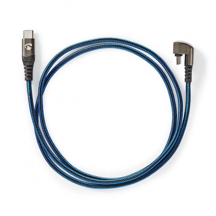 Imagine Cablu USB 2.0-A la USB-C unghi 180 grade 1m, Nedis GCTB60600BK10