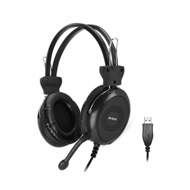 Imagine Casti cu microfon USB 2m Negru, A4TECH HU-30