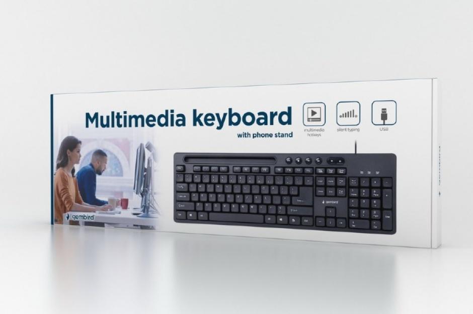 Imagine Tastatura USB Negru + stand smartphone, Gembird KB-UM-108