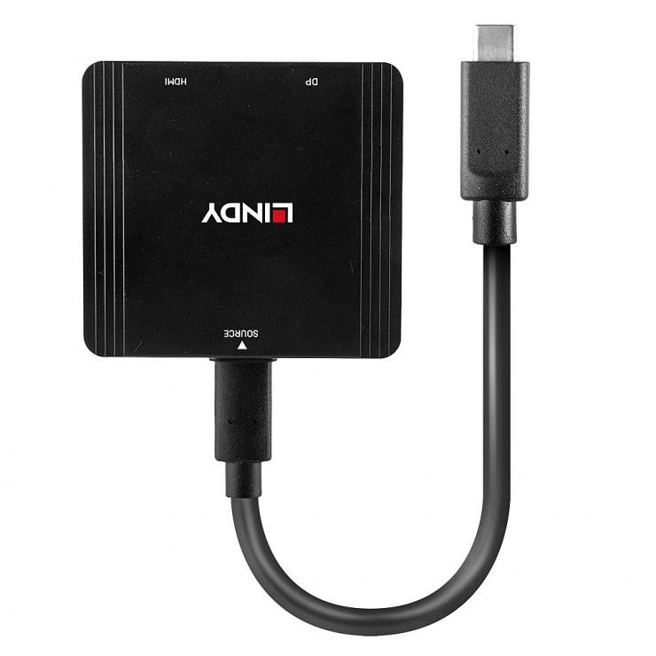 Imagine Multiplicator USB-C la HDMI + DIsplayport 4K@60Hz T-M, Lindy L43304
