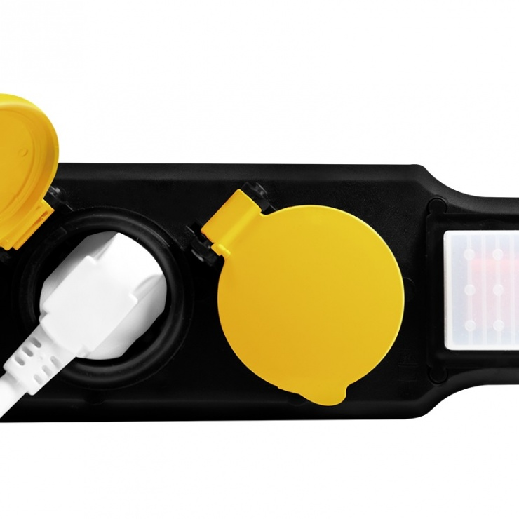 Imagine Prelungitor pentru exterior cu 6 prize Schuko 1.5m 16A + switch ON/OFF, Logilink LPS256