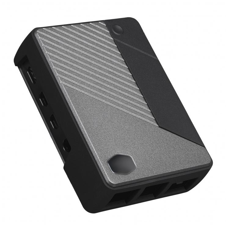 Imagine Carcasa compatibila Raspberry Pi 4 Model B Negru&Gri, Cooler Master MCM-PI400-MNNN-S00
