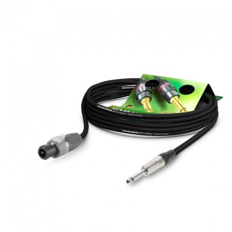 Imagine Cablu audio speakon la jack mono 6.35mm 10m Negru, NEUTRIK ME21-225-1000-SW