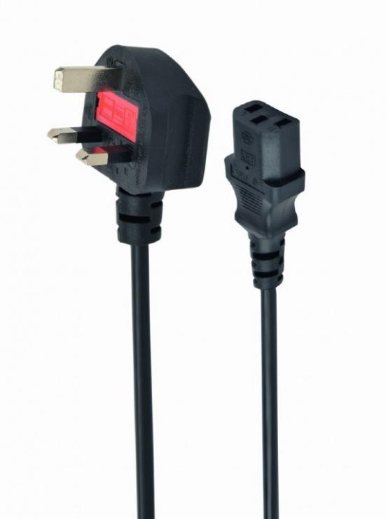 Imagine Cablu de alimentare UK la IEC C13 5A 1.8m Negru, Gembird PC-187