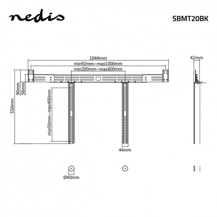 Imagine Suport soundbar cu atasare la TV Negru, Nedis SBMT20BK