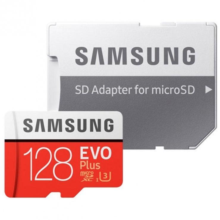 Imagine Card de memorie Samsung MicroSDXC EVO Plus 128GB clasa 10 + adaptor SD, Samsung MB-MC128HA/EU