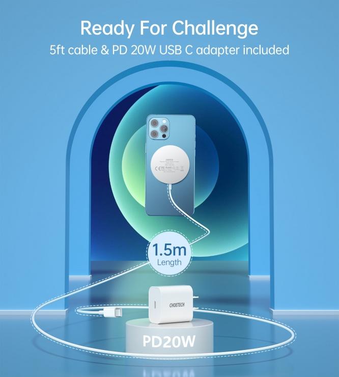 Imagine Incarcator wireless magnetic PD 3.0 20W pentru IPhone 12 Magsafe, CHOETECH T517-F