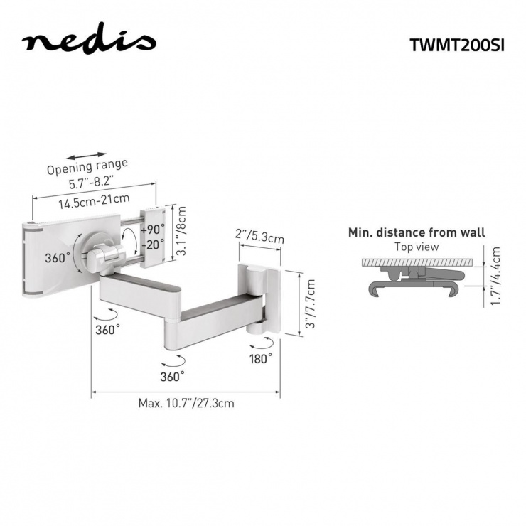 "Imagine Suport perete pentru tableta 7"" - 12 "" Alb, Nedis TWMT200SI"