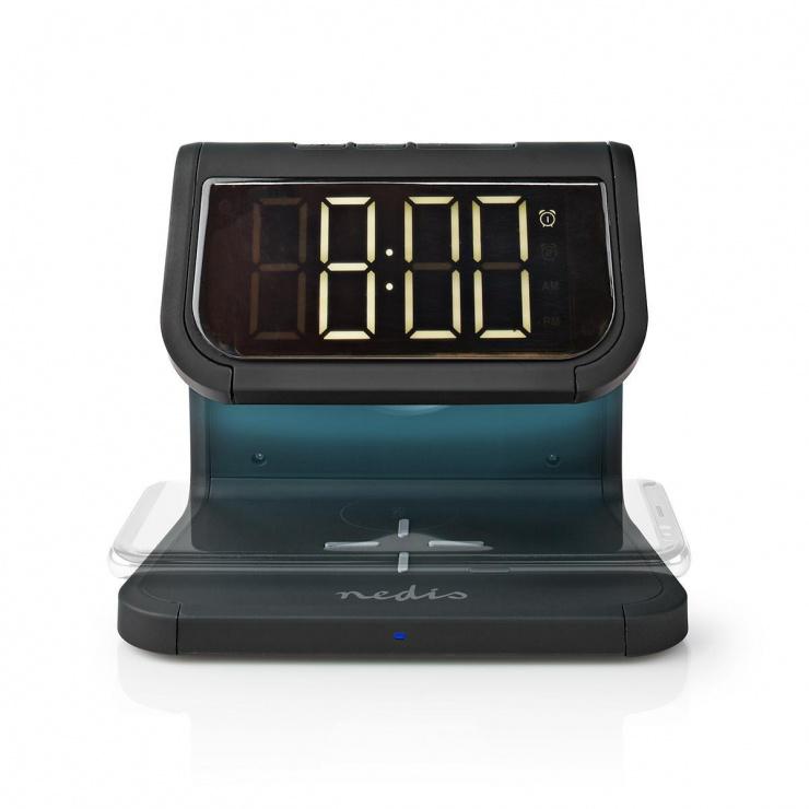 Imagine Ceas cu alarma si incarcare wireless Qi 10W Negru, Nedis WCACQ10W1BK