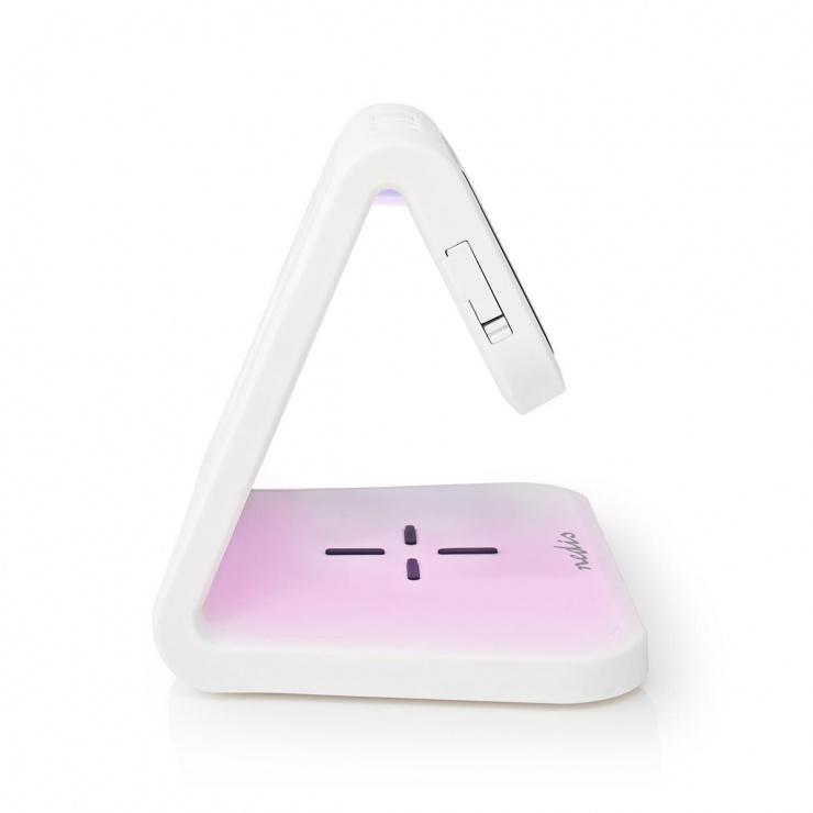 Imagine Ceas cu alarma si incarcare wireless Qi 10W Alb, Nedis WCACQ10W1WT