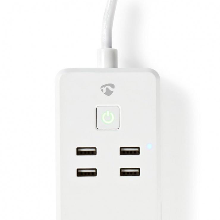Imagine Prelungitor inteligent 3 prize + 4 x USB 1.8m 16A, WIFIP310FWT