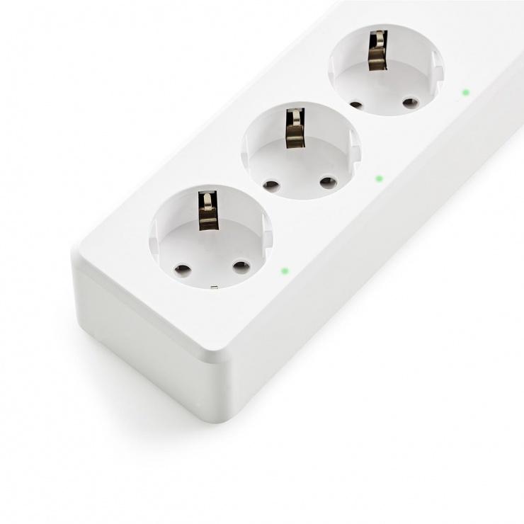 Imagine Prelungitor inteligent 3 prize + 4 x USB 1.8m 16A, Nedis WIFIP310FWT