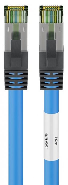 Imagine Cablu de retea CAT 8.1 S/FTP (PiMF) 0.5m Blue, Goobay G45658