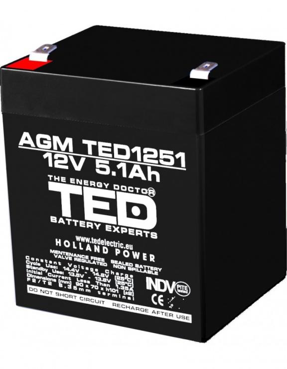 Imagine Acumulator pentru UPS AGM VRLA 12V 5.1A, TED1251