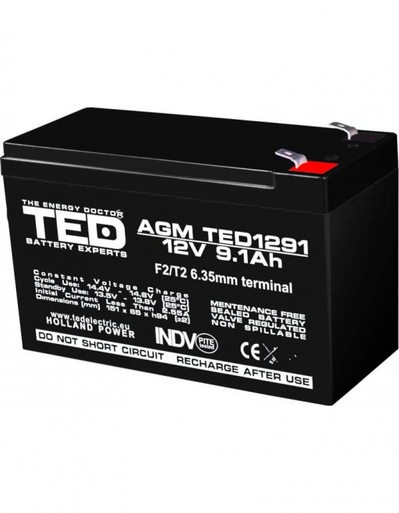 Imagine Acumulator pentru UPS AGM VRLA 12V 9.1A, TED1291