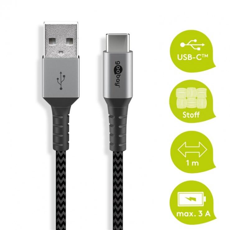 Imagine Cablu USB 2.0-A la USB type C T-T 2m, Goobay G49297