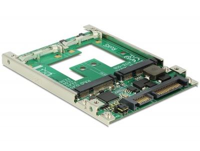 """Imagine Convertor 2.5"""" SATA 22 pini la 2 x mSATA cu RAID, Delock 62545"""