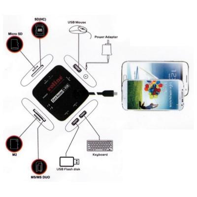 Imagine Cititor de carduri + Hub USB 2.0 OTG, Roline 15.08.6254-3