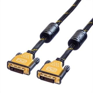 Cablu DVI-D Dual link 24+1 pini GOLD T-T 1m, Roline 11.04.5511