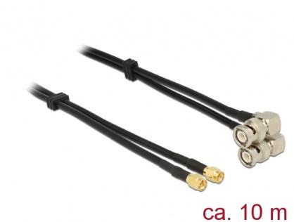 Cablu dublu antena SMA plug la BNC plug 90° RG-58 A/U 10m, Delock 12472