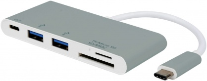 Hub USB tip C 3.1 + 2 x USB-A si alimentare (PD) + slot micro SD/SD, Roline 15.08.6257