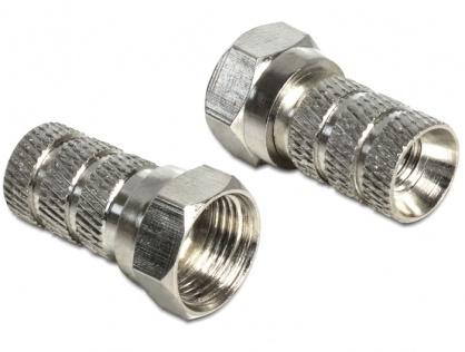 Adaptor F antena/coaxial (TV) pentru cablu cu diametru 5.0 - 5.2 mm, Delock 65615