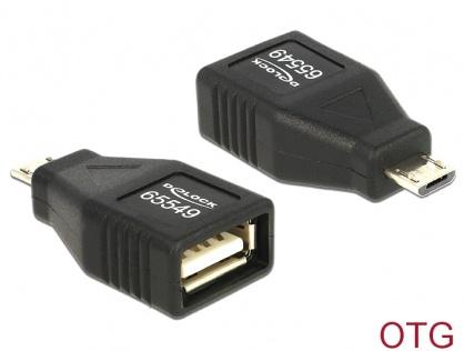 Adaptor OTG USB 2.0 A la micro USB B M-T, Delock 65549